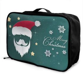 ボストンバッグ メリークリスマス キャリーオンバッグ トラベルバッグ 大容量 厚手 丈夫 荷物 折りたたみ スーツケース固定可 旅行 出張 男女兼用 かわいい おしゃれ