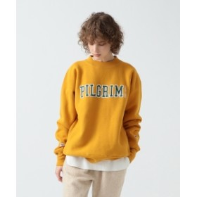 Pilgrim Surf+Supply <WOMEN>Champion × Pilgrim Surf+Supply / Print Mock Sweatshirt レディース スウェット MUSTARD XS