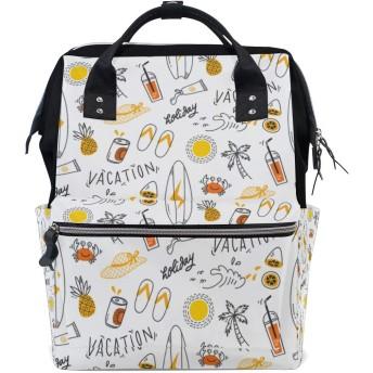 MIMUTI バックパック 夏のシームレスな背景落書きスタイル 男女兼用 通学 通勤 旅行 スポーツ バッグ