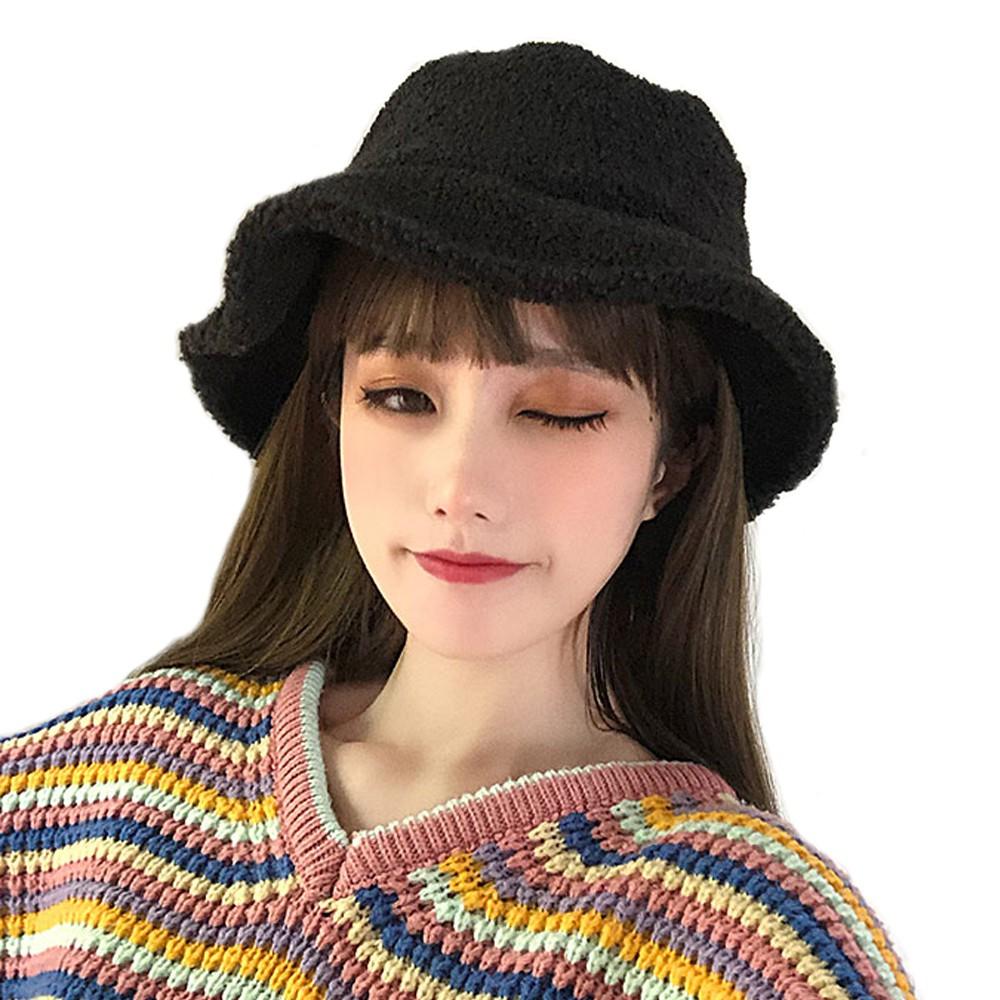 seoul show首爾秀 雪尼爾漁夫帽仿羊羔毛盆帽