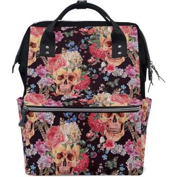 MIMUTI バックパック 水彩のシームレスパターンスカルピンクの牡丹 男女兼用 通学 通勤 旅行 スポーツ バッグ