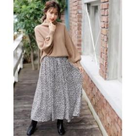 【INGNI:スカート】レオパード柄ギャザー スカート