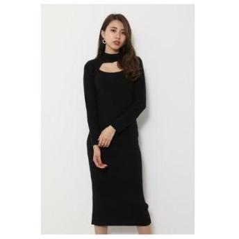 リエンダ rienda Raglan Knit Tight ワンピース (ブラック)
