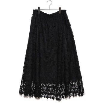 ラナン Ranan 星レースフレアーロングスカート (ブラック)