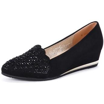 パンプス ウェッジソール ファー付き ファー レディース 靴 シューズ 22.5 23.0 26.0cm 23.5 24.0 24.5 黒 ブラック black gray グレー ブラック/灰色 バレエシューズ コンフォートシューズ レディース 靴 パンプス
