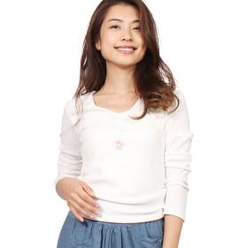 [モードアラカルト] tシャツ レディース 長袖 透けにくい カジュアル おしゃれ カットソー 無地 白 vネック 長袖tシャツ ホワイト M