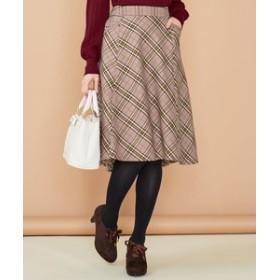 【Feroux:スカート】【洗える】モールヤーンチェック スカート
