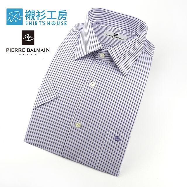 皮爾帕門pb白底紫色細條紋熱賣必備男仕短袖襯衫68044-08 -襯衫工房