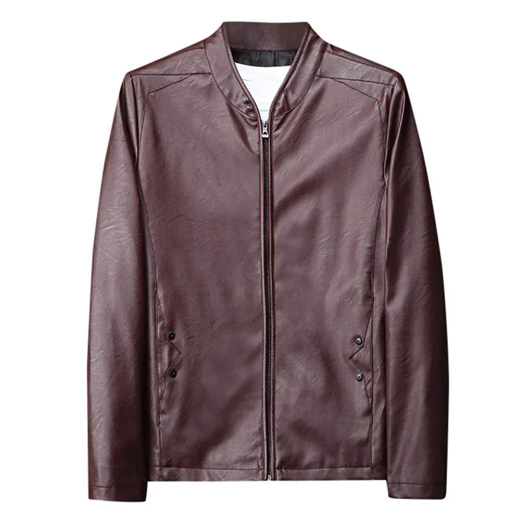 Keaac Men Jackets Winter Warm Fur Liner Lapel PU Leather Zipper Outwear Coats