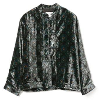 International Gallery BEAMS TOGA VIRILIS / ベルベット チャイナシャツ メンズ カジュアルシャツ BLACK 48/L