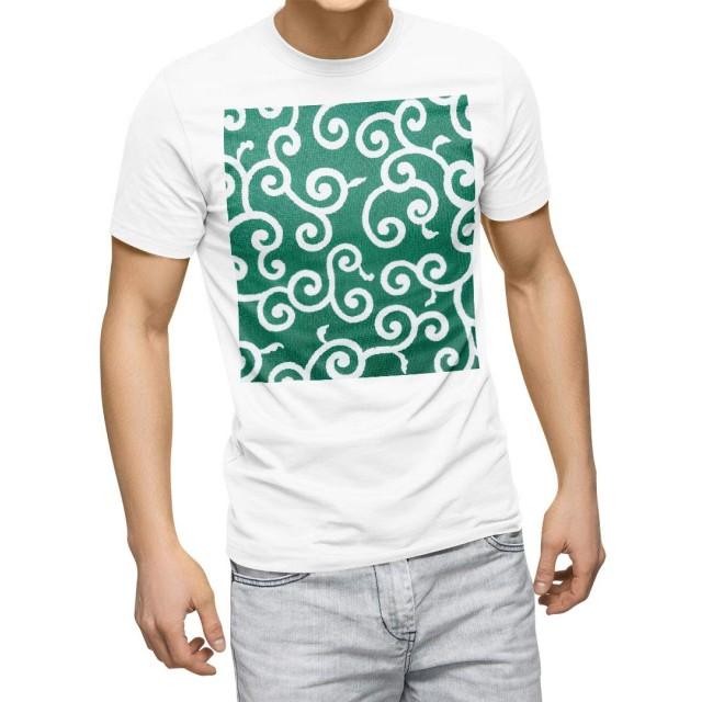 igsticker プリント Tシャツ メンズ L size おしゃれ クルーネック 白 ホワイト t-shirt 008428 チェック・ボーダー 唐草 模様 緑 グリーン 植物