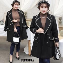 中大尺碼英倫風西裝外套-FUWAFUWA