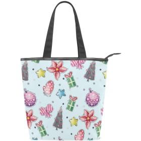 KENADVIトートバッグ 最高級 軽量 キャンバス レディース ハンドバッグ 通勤 通学 旅行バッグ、色付きのクリスマス要素、スタイリッシュ グラフィックス 収納袋
