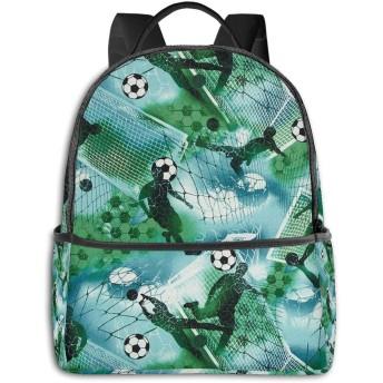 リュック スポーツサッカー少年サッカーブルーグリーン バックパック メンズ レディース スクールバッグ 軽量 おしゃれ 通学 大容量 旅行 プレゼント 防水 リュックサック