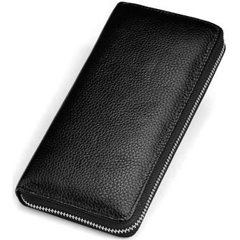 BesTn 財布 メンズ 長財布 牛革 YKK製 ラウンドファスナー カード入れ 小銭入れ 大容量(ブラック)
