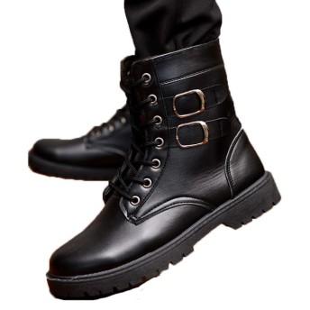 [QH-JP] ブーツ シューズ メンズ マーティン マウンテン スニーカー ワーク 大きいサイズ 本革ウィンター防水 防寒靴 防滑 アウトドア ウィンター 裏起毛 滑り止め 男性用 おしゃれ かっこいい 通勤通学 雨・雪・晴れ兼用 25cm ブラック