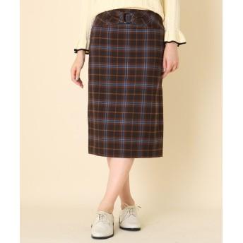 Couture Brooch(クチュールブローチ) 【WEB限定サイズ(LL)あり/手洗い可】タータンチェックタイトスカート