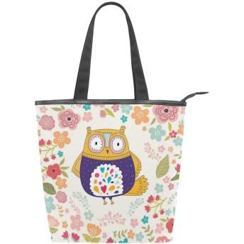 KENADVIトートバッグ 最高級 軽量 キャンバス レディース ハンドバッグ 通勤 通学 旅行バッグ、カラフルな鳥が咲く花観賞用の落書きDesignspirations、スタイリッシュ グラフィックス 収納袋