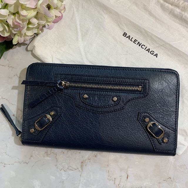 【BALENCIAGA】黑夜藍小銀釦經典多層拉鍊長夾