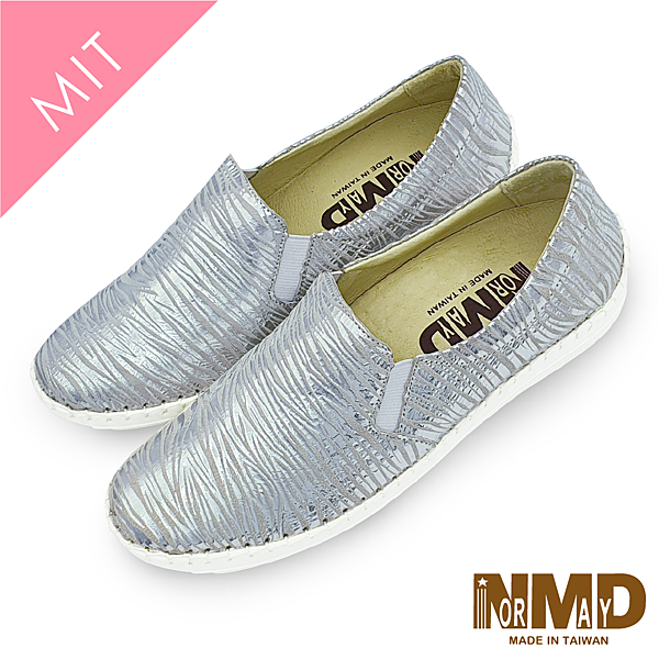 真皮休閒鞋 懶人鞋 個性時尚斑馬紋真皮球囊氣墊懶人鞋-MIT手工鞋(斑馬銀) Normady 諾曼地