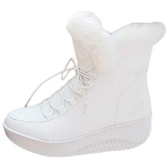 [BiaoYiTen] ショートブーツ レディース 黒 ふわふわ 裏起毛 ローカットブーツ レディース ローヒール マーティンブーツ レディース レースアップ ブーツ レディース 歩きやすい ブラック 厚底靴 ミドル ヒール約3.5cm 白 (23, ホワイト)