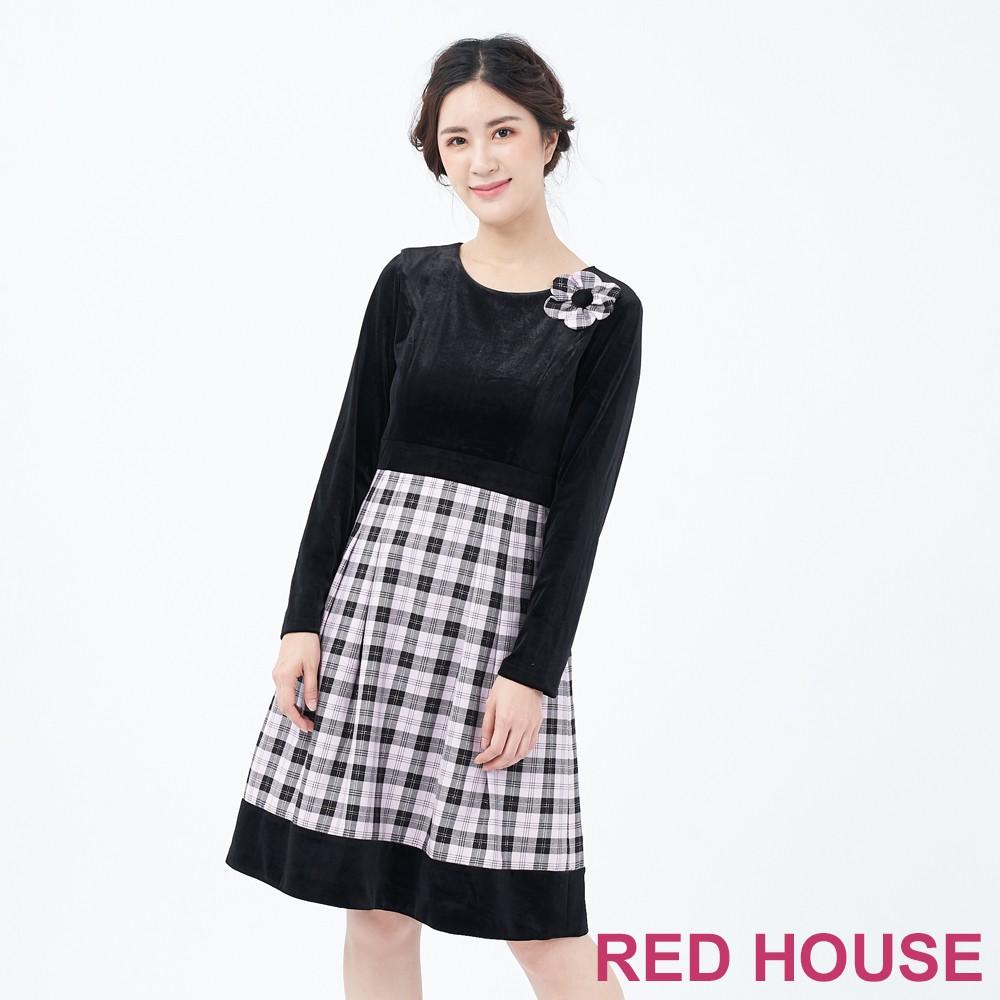 【RED HOUSE 蕾赫斯】素面格紋洋裝(共二色)