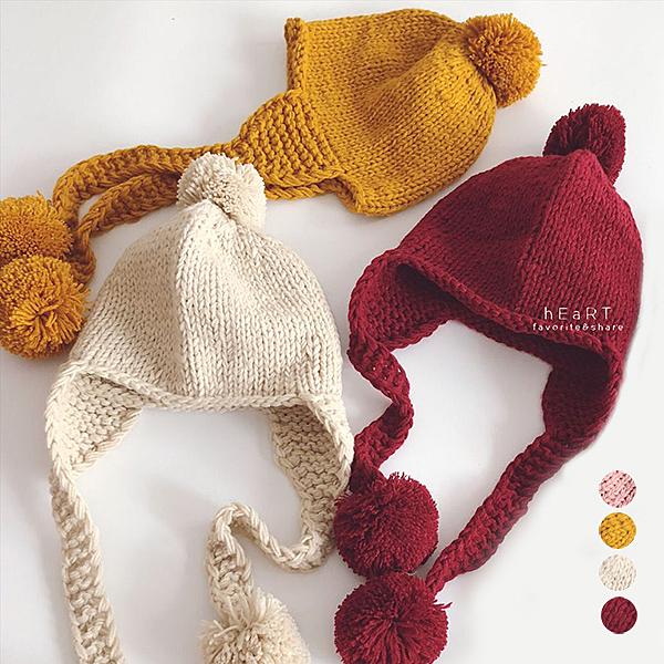 毛球毛線編織護耳帽 童帽 帽子 保暖帽 針織帽
