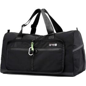 APACKR ボストンバッグ 旅行かばん 旅行用バッグ ナイロン 軽量 コンパクト 折りたたみ 男女兼用 2way 大容量 多機能 旅行 出張 合宿 部活 (ブラック)