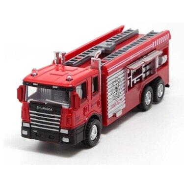 消防車玩具合金小汽車模型雲梯水槍機場消防車119聲光回力車  雙十二全館免運