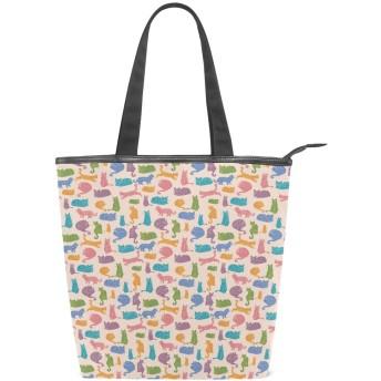 KENADVIトートバッグ 最高級 軽量 キャンバス レディース ハンドバッグ 通勤 通学 旅行バッグ、猫動物の民族飾り、スタイリッシュ グラフィックス 収納袋