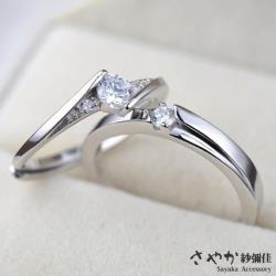 【Sayaka紗彌佳】925純銀真摯愛侶鑲鑽情侶對戒-可調式戒圍