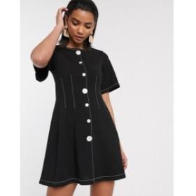 エイソス ASOS DESIGN レディース ワンピース ミニ丈 ワンピース・ドレス contrast stitch button through mini dress ブラック