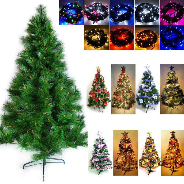 摩達客 台灣製造5呎/5尺(150cm)特級綠松針葉聖誕樹-紅金色系飾品組+100燈led燈串2串