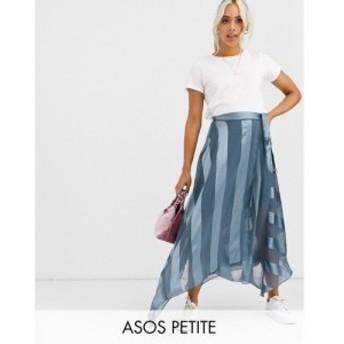 エイソス ASOS Petite レディース ひざ丈スカート ラップスカート スカート ASOS DESIGN Petite satin stripe wrap midi skirt with tie