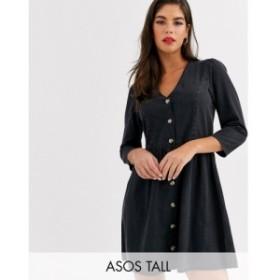 エイソス ASOS Tall レディース ワンピース デニム ワンピース・ドレス ASOS DESIGN Tall soft denim tea dress in black ブラック