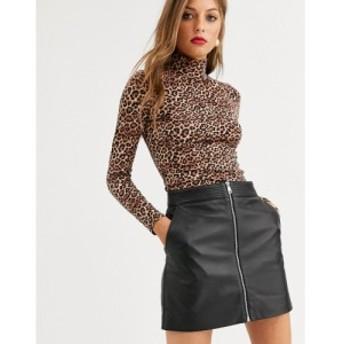 ラブレザー LAB LEATHER レディース ミニスカート スカート Lab Leather zip through mini skirt ブラック