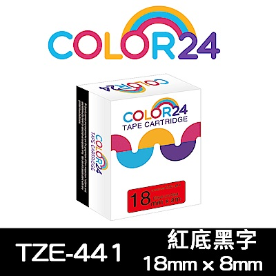 Color24 for Brother  TZe-441 紅底黑字相容標籤帶 寬度18mm