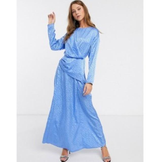 エイソス ASOS DESIGN レディース ワンピース ラップドレス マキシ丈 ワンピース・ドレス wrap detail maxi dress in jacquard ブルー