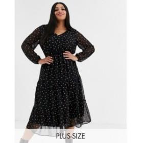 ニュールック New Look Plus レディース ワンピース ティアードドレス New Look Curve long sleeve tiered midi dress in rust spot ブラ