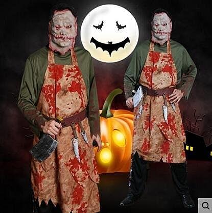 哈羅威萬聖節鬼節酒吧派對晚會表演血腥廚師染血成人男服裝F5950