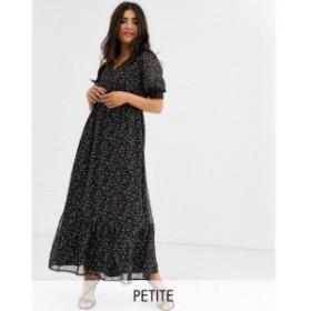 ワイ エー エス Y.A.S Petite レディース ワンピース Vネック マキシ丈 maxi dress with v neck and puff sleeves in black ditsy floral