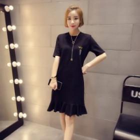 春物フリルがかわいい膝丈ワンピース 大きいサイズ 韓国ファッション 原宿風 体型カバーも