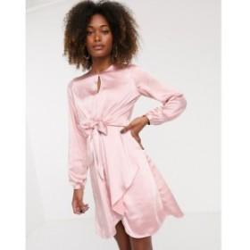 ワイ エー エス Y.A.S レディース ワンピース ワンピース・ドレス satin knot front dress ベビーピンク