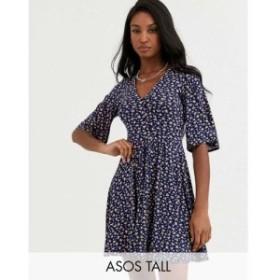エイソス ASOS Tall レディース ワンピース ミニ丈 ワンピース・ドレス ASOS DESIGN Tall floral mini button front swing dress ネイビ