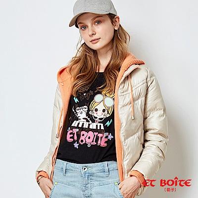 ETBOITE 箱子 BLUE WAY 針織帽高級輕薄羽絨外套-淺卡