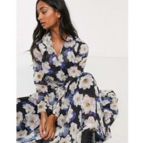 ロストインク Lost Ink レディース ワンピース ラップドレス maxi wrap dress with cut out detail in oversized floral print ブルーフ