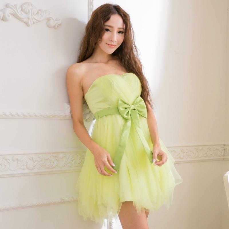 PMQueen白羽夜后洋裝禮服[30011]不規則網紗澎裙蝴蝶結綁帶洋裝/伴娘/禮服