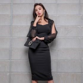 シースルー袖 ワンピース レディース ワンピ 鎖骨 透け感 セクシー キャバ嬢 パーティー 韓国ファッション