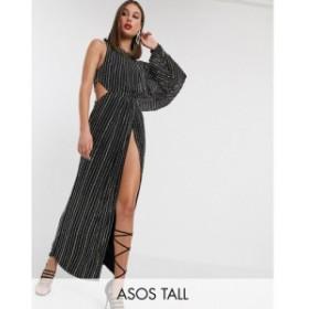 エイソス ASOS Tall レディース ワンピース ワンピース・ドレス ASOS DESIGN Tall studded linear midaxi dress with drape sleeve ブラ