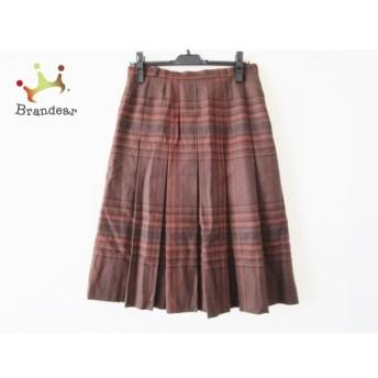 レリアン スカート サイズ11 M レディース 美品 ダークブラウン×ブラウン プリーツ/チェック柄 新着 20191214